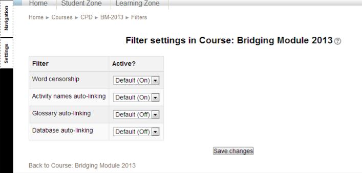 Course Filter Settings