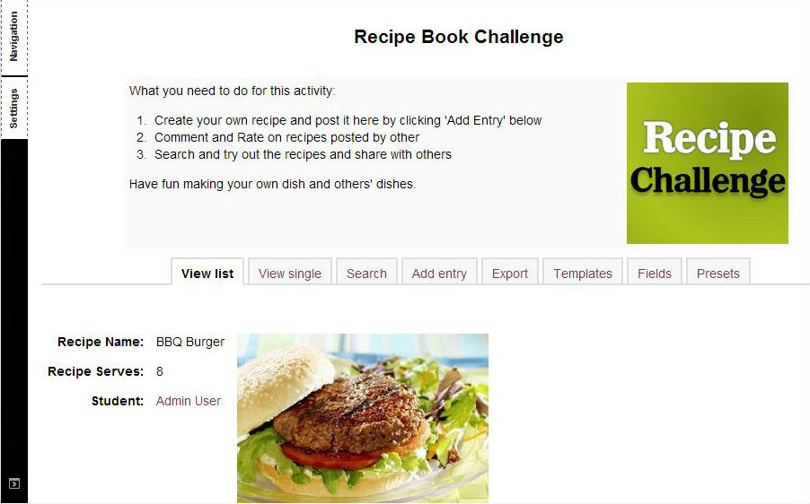 Recipe Book based on Database