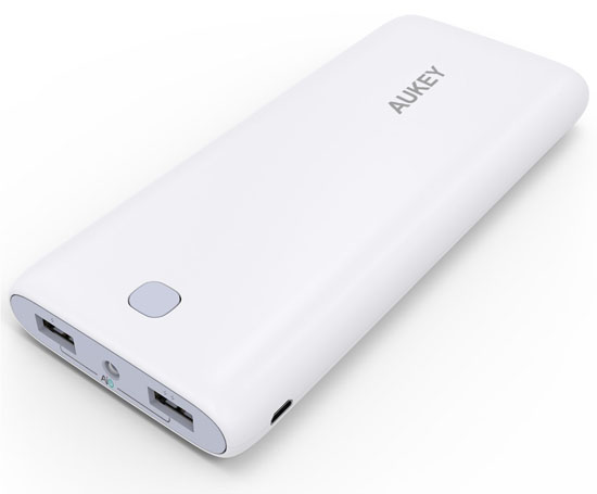 Aukey 20000mAh Portable External Battery Charger Power Bank White