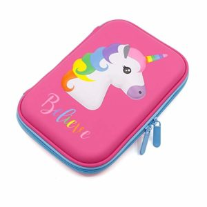 Cute Unicorn Embossed Hardtop Pencil Case